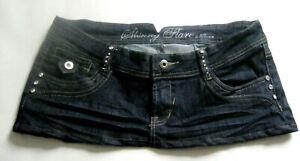 6 3/4 Inch Length Rhinestone-Type studs Blue Denim  Micro Mini Skirt - Size 14