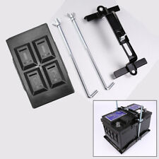 Anti-corrosion Car Adjustable Storage Battery Tray + Hold Down Clamp Bracket Kit