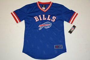 NFL Buffalo Bills Twill V-Neck Mesh Jersey Shirt Blue w Logo Youth Large 14-16 L