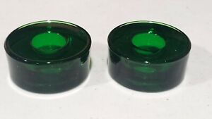 """Set of 12 NOS Crate & Barrel Green Glass Taper Candle Holders Round 2"""" Christmas"""