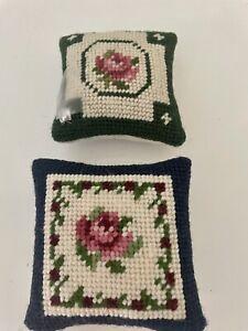 Handmade Needlepoint  MIni Pillows/ Cushions from Madeira Set of 2  NWT