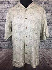Tommy Bahama Sz. L Tan Green Paisley Desgin 100% Silk Casual Short Sleeve