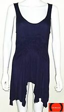Olivia Moon Navy Sleeveless Relaxed Stretch Loose Fit Tunic Top Size L