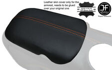 ORANGE STITCH ARMREST LID GENUINE LEATHER COVER FITS FORD MUSTANG 2015-2017
