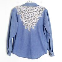 Denim blue shirt lace back top S small cotton long sleeve festival boho cowgirl