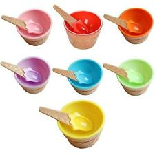Ice Cream Bowls with Spoons For Children Waffle Cone New Plastic Kids V4B0