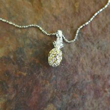 925 Silver 2 Tone Silver Gold Pineapple Pendant Hawaii Necklace (S) SP50005