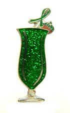 Green Awareness Ribbon Pin Hurricane Glass Tropical Drink Cancer Cause New