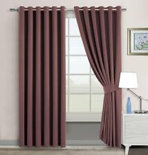 "Super Soft Quality-Thermal Insulated Eyelet Curtains 46"" x 54"" Energy Save Brown"