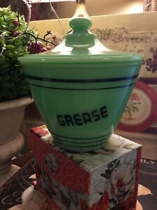Jadeite~Green Glass~Black Lettering~Lidded Grease Jar~1930 Art Deco Inspired~😘