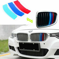 Car Front Grille Strip Insert Trim Cover for BMW 3 Series F30 13-17 3D M-Colored Stripes 8 Beams