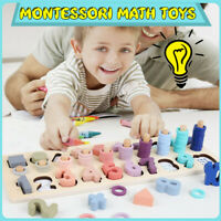 3 in 1 Montessori Toy Rainbow Ring Board Preschool Math Wooden Hand Coordination