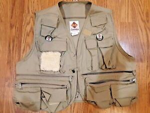 Vintage Columbia Sportswear Men's Tan Fly Fishing Vest, Size Large