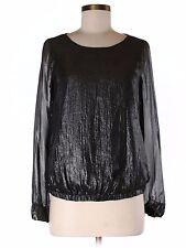 Silver black shiny wet look Gap Long Sleeve slit Blouse Maternity Size XS-S