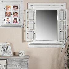 Wandspiegel Deko Spiegel Fensterläden Bilderrahmen shabby weiß Spiegelfenster