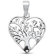 Plain Heart Tree Of Life .925 Sterling Silver Pendant