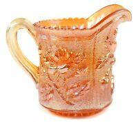 "Imperial Glass Lustre Rose Marigold Carnival Creamer 4.75"" Pitcher Iridescent"