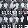 USA Mens Black Grey Silk Tie Necktie Set Paisley Striped Plaid Solid Ties Party