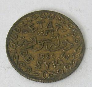 SYRIA - ALUMINUM-BRONZE 5 PIASTRE 1936 KM # 70