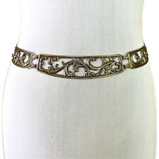 Vintage 1990s Silver Filigree Plate Medallion Curved Chain Belt
