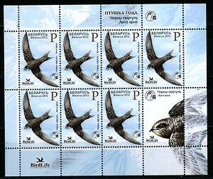 2012 Belarus.  Bird of the year. Black swift. MNH. Sheet/Pane
