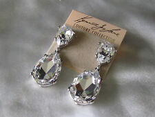Kenneth Jay Lane Clear Crystal Tear Drop Clip Earring  NEW!