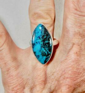 Chrysocolla Large Marquise Ring 925 Sterling Silver Size 9 Stone of Harmony