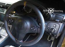 Para 2002-2007 Mazda 6 MK1 Cubierta del Volante Cuero Perforado + Correa Marrón