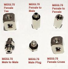 Metric Cross M5 M5X0.75 Female Fitting Brass Adapter Fuel Water Air 4 Way L-Z57