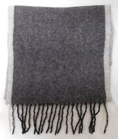 CLUB ROOM GRAY CASHMERE SCARF WITH FRINGE EUC