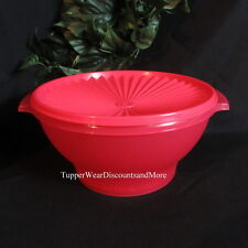 Tupperware New Cherry RED 17 Cup Servalier Bowl Salad Prep Serving Matching Seal
