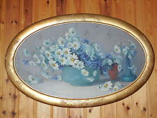 ANTIQUE FRENCH PAINTING signed LEOPOLD SMETANA 1926  : LES MARGUERITES