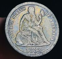 1883 Seated Liberty Dime 10c High Grade Very Good Date 90% Silver US Coin CC3260