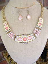 PINK ROSE PEARL GOLD RHINESTONES MULTISTRAND GOLD CHAIN NECKLACE AND EARRINGS