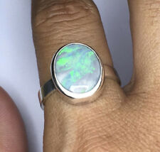 Handmade silver ring, 3.96 carats Genuine solid Lightning ridge Opal