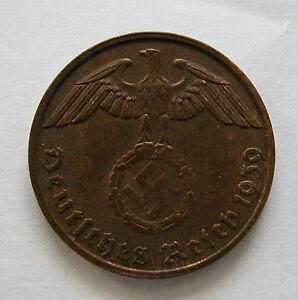 GERMANY- THIRD REICH-BRONZE 2 REICHSPFENNIG 1939 B -KM # 90