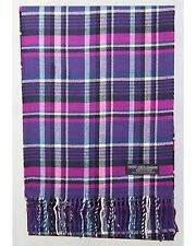 100% Cashmere Scarf Purple Blue Check Tartan Plaid SCOTLAND Wool Women R935