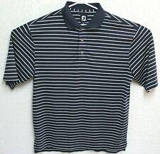 FootJoy Mens Blue White Striped Polo Golf Shirt Large EUC