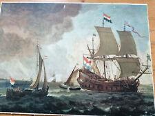 Live Verschuier - Niederländisches Kriegsschiff Gemälde von 1660 Druck 37x52 cm