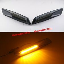 Carbon Trim LED Side Marker Amber For BMW E90 E91 E60 E82 Smoke Lens F10 Style