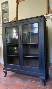 Antique Early C20th Black Painted China Glazed Display Drinks Cabinet Bookcase