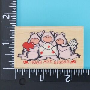 Hogs and Kisses 631D Rubber Stampede Wood Mounted Rubber Stamp 2004