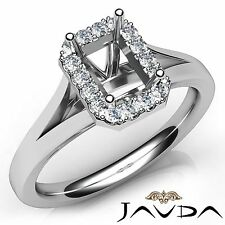 Diamond Engagement Emerald Cut 0.2Ct Semi Mount Platinum Halo Prong Set Ring