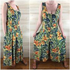 Vintage 90s Pantsuit Jumpsuit Hippie Boho Grunge Green Tropical M L