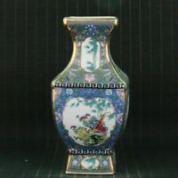 Chinese Exquisite cloisonne Porcelain Handmade Draw Flowers & Birds Vases