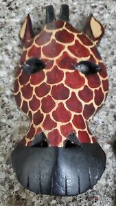 Pair of African Hand Carved Safari Baby Animal Masks Giraffe and Leopard