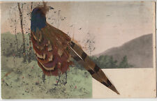 Postcard home drawn with real feathers Pheasant Victoria Australia 1d stamp