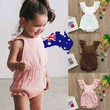 Children Toddler Girls Ruffles Romper Backless Jumpsuit Outfits Clothes Sunsuit