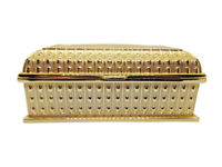 """6.9"""" Large Reliquary Relic Case Sanctified Box Gold Plated Velvet Interior"""