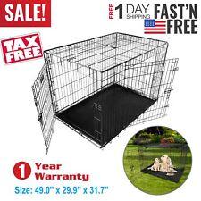 "Extra Large Dog Crate Kennel 48"" Folding Pet Cage Metal 2 Doors +Tray Pan Black"